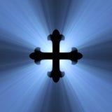 niebieski krzyż flary gothic symbol światła Zdjęcia Stock