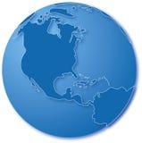 niebieski mapa świata Obrazy Stock