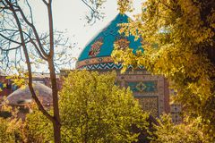 niebieski meczetu Elegancki islamski masjid budynek Podróż Armenia, Kaukaz Turystyczny architektura punkt zwrotny Zwiedzać w Yere Obrazy Royalty Free