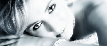 niebieski, panna młoda portret sepiowy zdjęcia stock