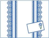 niebieski pola karty dar koronkę o mnie Obraz Stock