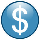 niebieski przycisk ikony dolarowy znak Zdjęcia Stock