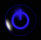 niebieski przycisk moc Zdjęcie Royalty Free