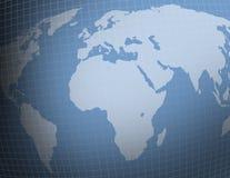 niebieski siatki mapy świata Zdjęcia Stock