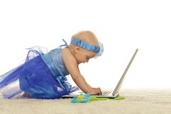niebieski smokingowa dziewczyna Zdjęcie Royalty Free