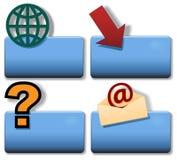 niebieski strzałkowatego e globe ikony pytania symbolu wysiadających tytuł Fotografia Royalty Free