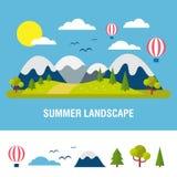 niebieski tła krajobrazu piękne lato ilustracja wektor