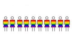 niebieski tła pudła brązu pieniądze konceptualny euro przedmiot ilustracyjny Wiele kobiety malują w kolorze LGBT flaga wpólnie Po ilustracja wektor