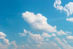 niebieski zachmurzone niebo w kontekście niebieskie chmury odpowiadają trawy zielone niebo białe wispy natury tła opieki pojęcia  Zdjęcie Stock