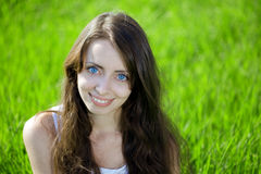 niebieskich oczu słoneczników kobieta obrazy royalty free