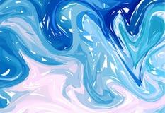niebieskie światło tła abstrakcyjne Atrament marmoryzaci tekstury Ręki rysujący marmurowi ilustracje, ebru aqua papier i jedwabió royalty ilustracja