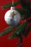 niebieskie asterysków gwiazdkę dekoracji kuli ciemne drzewo Zdjęcie Royalty Free