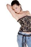 niebieskie dżinsy mody gorsetowi obraz royalty free
