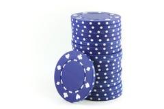 niebieskie żetonów pokera Obrazy Royalty Free