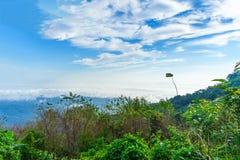 Niebieskie niebo i chmura z łąkowym drzewem Równiny krajobrazowy tło fotografia royalty free