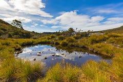 Niebieskie niebo i chmury odbija na wody powierzchni stawowy pobliski d Fotografia Stock