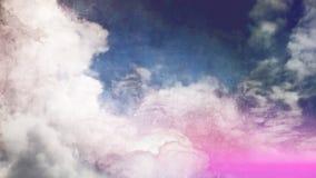 Niebieskie niebo i chmury, wizerunek w akwareli kreskówki stylu Fotografia Royalty Free