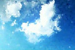 Niebieskie niebo i chmury z witrażu tłem obraz stock