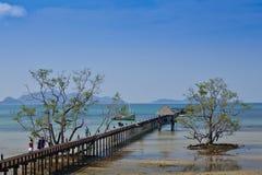 Niebieskie niebo i Drewniany most w morze Zdjęcia Royalty Free