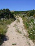 Niebieskie niebo i zadziwiający morze, granit skały z śródziemnomorską roślinnością, księżyc doliny, Valle della Luna, Capo Testa Obrazy Royalty Free