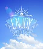 Niebieskie niebo karta, cieszy się słonecznych dni ilustracji