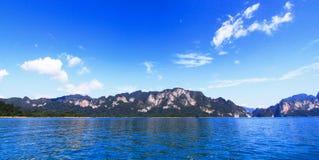 Niebieskie niebo nad wodną panoramą Fotografia Stock