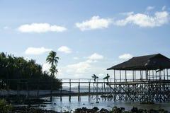 niebieskie niebo siargao wysp Philippines surfiarze Fotografia Stock