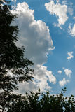 Niebieskie niebo z chmurami na pogodnym letnim dniu Zdjęcie Stock