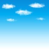 Niebieskie niebo z chmurami. Wektorowa ilustracja. Obrazy Royalty Free