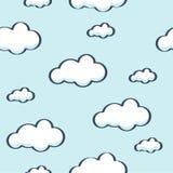Niebieskie niebo z chmurami, wektorowy bezszwowy tło Obraz Stock