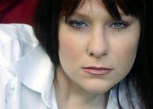 niebieskie oko panie portret ruda Obraz Stock