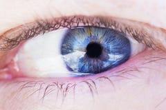 niebieskie oko strzelanina ludzka makro- Fotografia Royalty Free
