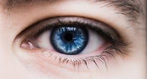 niebieskie oko strzelanina ludzka makro- Zdjęcie Royalty Free