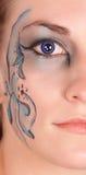 niebieskie oko twarz przekrawa zdjęcia stock