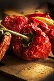 niebieskie płomienie gorąca nadwyżka chili pieprzowa czerwony Zdjęcie Stock