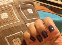 niebieskie paznokcie Obraz Stock