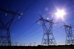 niebieskie powerlines Fotografia Stock