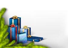 niebieskie prezenty Zdjęcia Stock
