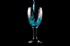 niebieskie szkło wina Fotografia Stock