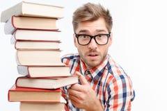 niebieskie tło książki posiada ponad studenckimi young Zdjęcia Stock