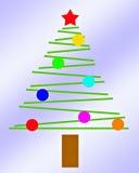 niebieskie tło mały świąteczne lampki proste drzewo Obrazy Royalty Free
