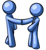 niebieskie uścisków dłoni ludzi Fotografia Royalty Free