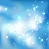 Niebieskiego nieba abstrakcjonistyczny tło z chmurami i gwiazdami Magiczny nowy rok, Bożenarodzeniowy wydarzenie stylu tło ilustracji