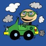 Niebla con humo del coche del ambiente de la contaminación: Dibujos animados Foto de archivo