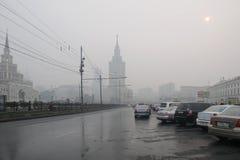 Niebla con humo terrible en Moscú Foto de archivo