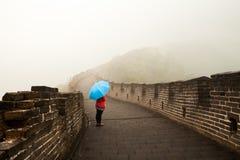 Niebla de China de la Gran Muralla Imagen de archivo libre de regalías