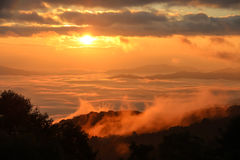 Niebla de la mañana con la montaña en la salida del sol Foto de archivo
