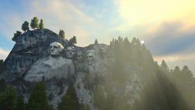 Niebla de la mañana del monte Rushmore stock de ilustración
