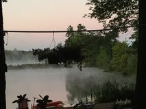 Niebla de la mañana en el lago Fotografía de archivo libre de regalías