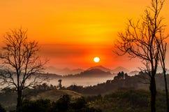 Niebla de la montaña de la mañana Foto de archivo libre de regalías